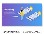 a b comparison. split testing... | Shutterstock .eps vector #1084926968