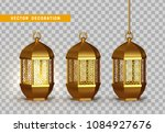 gold vintage luminous lanterns. ... | Shutterstock .eps vector #1084927676