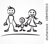 family stick figures  hand... | Shutterstock .eps vector #1084930313