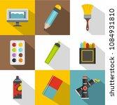 art school icon set. flat style ...   Shutterstock . vector #1084931810