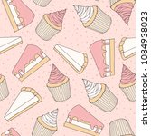 hand drawn vector pastry... | Shutterstock .eps vector #1084938023