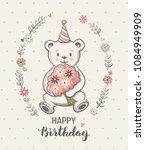 cute little bear cartoon ... | Shutterstock .eps vector #1084949909