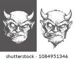 evil devil with cigar smokes...   Shutterstock .eps vector #1084951346