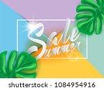summer sale lettering banner...   Shutterstock .eps vector #1084954916