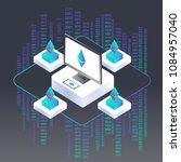 blockchain vector illustration. ... | Shutterstock .eps vector #1084957040