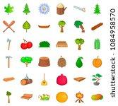 Tree Icons Set. Cartoon Style...