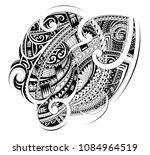 maori ethnic style ornament.... | Shutterstock .eps vector #1084964519