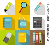 stationery icon set. flat style ...   Shutterstock . vector #1084965746