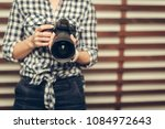 pretty woman is a professional... | Shutterstock . vector #1084972643