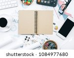 mix of office supplies and... | Shutterstock . vector #1084977680