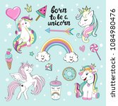set of beautiful unicorns with... | Shutterstock .eps vector #1084980476