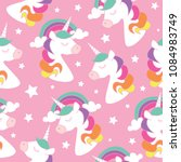 unicorn drawings on pink... | Shutterstock .eps vector #1084983749