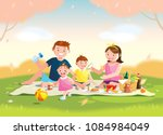 family enjoying picnic. they... | Shutterstock .eps vector #1084984049