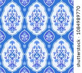 blue floral seamless pattern in ... | Shutterstock .eps vector #1084989770