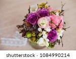 wedding bouquet of fresh tulips ... | Shutterstock . vector #1084990214
