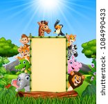 animals with bamboo blank sign... | Shutterstock .eps vector #1084990433
