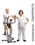 mature man exercising on a... | Shutterstock . vector #1084990670