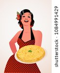 beautiful spanish cook with... | Shutterstock .eps vector #1084991429