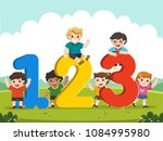 happy kids with numbers.   Shutterstock .eps vector #1084995980