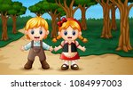 hansel and gretel in the forest | Shutterstock .eps vector #1084997003