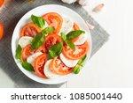 close up photo of caprese salad ... | Shutterstock . vector #1085001440