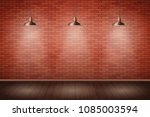 interior of red brick wall with ... | Shutterstock .eps vector #1085003594