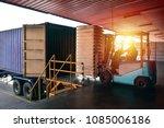 forklift handling empty tin... | Shutterstock . vector #1085006186