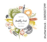 eco food design with hand drawn ...   Shutterstock .eps vector #1085007299