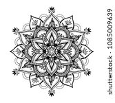 black isolated ethnic mandala... | Shutterstock .eps vector #1085009639