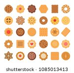 big set of cookies and biscuits.... | Shutterstock .eps vector #1085013413