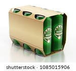 metal beer cans in a 6 pack...   Shutterstock . vector #1085015906