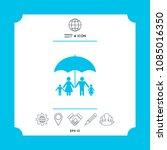 family under umbrella   family... | Shutterstock .eps vector #1085016350