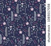 memphis seamless vector pattern ... | Shutterstock .eps vector #1085017058