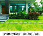 pathway in garden  green lawns...   Shutterstock . vector #1085018138