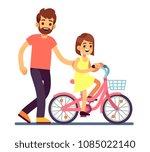 happy dad teaching daughter...   Shutterstock .eps vector #1085022140