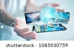 businessman connecting tech... | Shutterstock . vector #1085030759