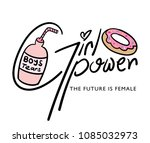 girl power text and drawings  ... | Shutterstock .eps vector #1085032973