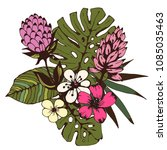 bouquet. tropical flowers ... | Shutterstock .eps vector #1085035463