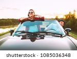 traveling by car   couple in... | Shutterstock . vector #1085036348