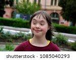 portrait of little girl smiling ... | Shutterstock . vector #1085040293