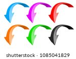 down arrows. 3d shiny colored... | Shutterstock .eps vector #1085041829