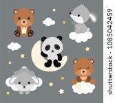adorable flat sleeping animals... | Shutterstock .eps vector #1085042459
