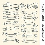 ribbon banner drawn set. vector ... | Shutterstock .eps vector #1085043749