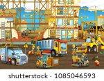 cartoon scene with men working... | Shutterstock . vector #1085046593