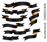 set of black ribbons with gold... | Shutterstock .eps vector #1085051846