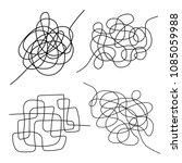 set of hand drawn tangle scrawl ... | Shutterstock .eps vector #1085059988