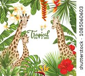 background with giraffe family... | Shutterstock .eps vector #1085060603
