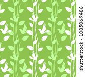 green seamless pattern with... | Shutterstock . vector #1085069486