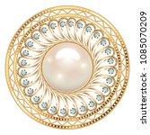 mandala brooch jewelry  design...   Shutterstock .eps vector #1085070209