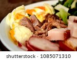 moked fat bacon with egg and...   Shutterstock . vector #1085071310